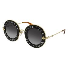 Gucci GG0113S 001 Black Gold Sunglasses 44mm L'Aveugle Par Amour Gucci 0113s 001