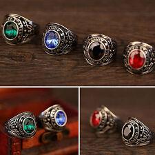 Men's Punk Gothic Titanium Steel Gemstone Black Onyx Band Finger Ring Jewelry