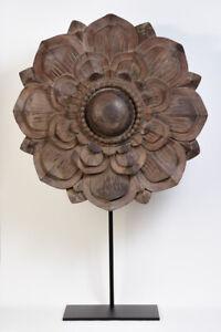 19th Century, Mandalay, Large Antique Burmese Wooden Flower Decoration