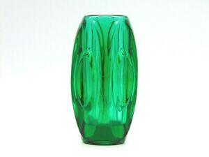 Vintage Rosice Molded Green Glass Cylinder Vase, Dating to 1955, Rare (AP143G)