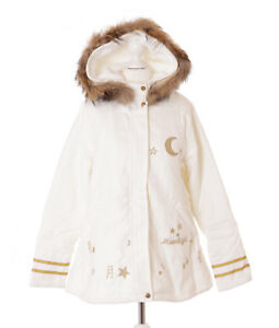 TS-86 Creme-Weiß Moonlight Sterne Zipfelkapuze Lolita Woll-Jacke Pastel Kawaii