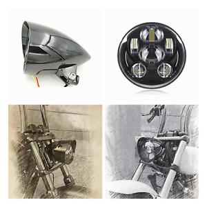 "5.75"" gloss black LED daymaker bullet headlight Harley DYNA FXD SUPER GLIDE FXR"