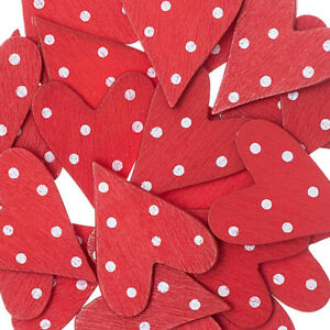 24 3cm Red Dotty Wooden Painted Tall Hearts Wedding Papercraft Embellishment
