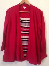 XL Acrylic Knit All In One Top & Open Cardigan Red / Striped <BC440