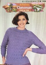 Ladies Lace Jumper KNITTING PATTERN gothic wide cuff 4ply 32-42 inch Aretesano