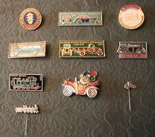 10 Soviet Pin Badges OLD AUTOMOBILE CAR GAZ ZIS AMO TRAIN LOCOMOTIVE USSR
