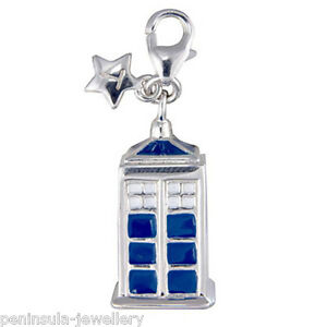 Tingle sterling silver charm clip on Police Box with Gift Bag and Box SCH106