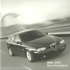 ALFA ROMEO 156 Sportwagon 1.6 1.8 2.0 2.5 V6 2.4 le specifiche Trim colore OPUSCOLO 2002