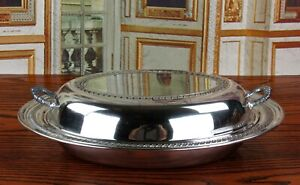 Antique Silverplate Oval Covered Serving Entrée Dish
