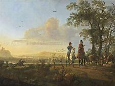 AELBERT CUYP DUTCH HORSEMEN HERDSMEN CATTLE OLD ART PAINTING POSTER BB4754A