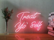 New Treat Yo Self Neon Sign For Bedroom Wall Art Home Decor Artwork With Dimmer