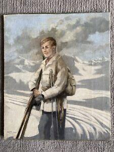 Modern European School. Portrait of a skier Kitzbuhel Austrian Alps 1953 signed