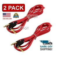 2 PACK 3.5mm Male to Male Aux Cable L-Shaped Angle Car Audio Headphone Jack Red