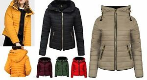 New Ladies Quilted Padded Puffer Bubble Fur Collar Warm Thick Women Jacket Coat