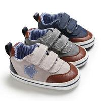 0-18M Toddler Baby Boys Kids Casual Canvas Hook Loop Star Prewalker Single Shoes