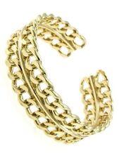 Chain Link Design Open Cuff Bracelet Gold Tone New Women Fashion Jewelry