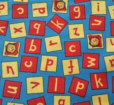 Paddington Bear BTY Quilting Treasures Alphabet Blocks Letters Yellow Red Blue