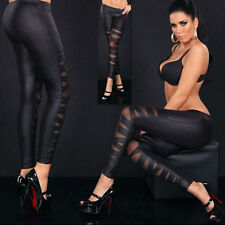 Fashion Sexy Pant Cool Cross Tied Faux Leather Yarn Black Set Tool Leggings