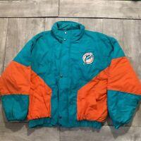 RARE Vintage Miami Dolphins NFL Aqua & Orange BIG LOGO Puffer Jacket Men Size XL