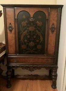 "Antique BERKEY & GAY Carved Cabinet. Painted Birds. Door,1-Drawer 62""H 1920s"