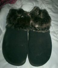 Skechers Tone-Ups Black Suede Leather Boots Faux Fur Lining Sz 7