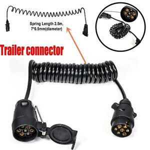 2.5m Spring Cable Cord 7Pin Trailer Plug Socket Adapter Wiring Connector copper