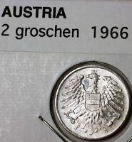1966 Austria 2 Groschen Brilliant Uncirculated Aluminum Eagle Coin