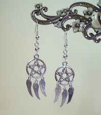 Pentagram Angelwing Dreamcatcher Dangly Earrings - Wicca Witch Pagan