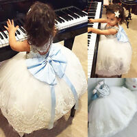 Lace Flower Party Bridesmaid Costume Dress Girl Baby Kids Gown Dresses Lot TOP