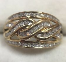 10k Yellow Gold 3/4 1 Ct Diamond Pave Cluster Cocktail Wedding Cigar Band Ring 7