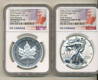 2019 NGC PF70 PRIDE of TWO NATIONS SET Reverse Proof Silver Eagle $5 Maple Leaf