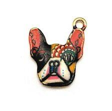 4 or 20 pcs Colorful Bulldog Face Charms - US Seller - EN216