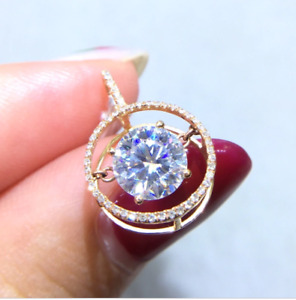 2Ct Round Cut Moissanite Dancing Solitaire Pendant 14K Rose Gold Over Free Chain