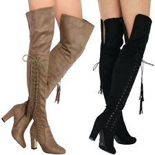 New Vegan Suede Tassel Lace Up Over Knee Thigh High OTK Boots Chunky Block Heel