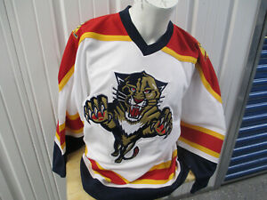 VINTAGE PRO-PLAYER FLORIDA PANTHERS SEWN MEDIUM WHITE HOCKEY JERSEY 90s OG LOGO