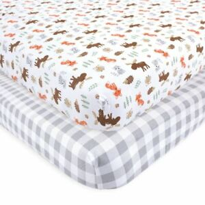 Hudson Baby Boy Fitted Crib Sheets, 2-Pack, Woodland