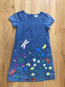 Mini Boden Jeans Denim Applique Flowers Bugs Sequin Tunic Dress 9 10 Sweet