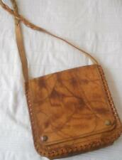 VINTAGE HAND CRAFTED LEATHER CROSS BODY SHOULDER BAG SHADED BROWN PLAITED STRAP