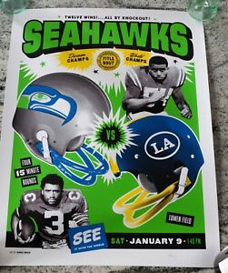 2021 Seattle Seahawks Game Day Poster Los Angeles Rams Playoff Limited Edition