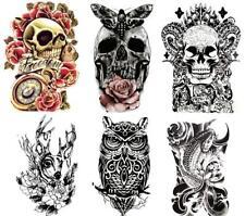 Large Temporary Tattoos Skull, Koi Fish, Owl, Rose, Butterfly, Deer (Set of 6)