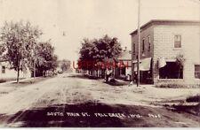 SOUTH MAIN ST., FALL CREEK, WI 1923 RPPC vintage gas / service garage. dirt road