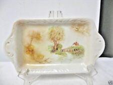 Older Hand Painted OpenHandled Butter Dish Rural Scene-Cream/Earthtones