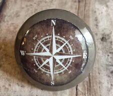"Set of 4 Espresso Brown Compass Style Knobs, 1.5"" Nautical Handmade Drawer Pulls"