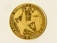 Expo 58 Brussels World Fair Solid 22ct .900 8.1g Gold Commemorative Medal  #T85*