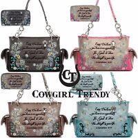 Embroidery Corinthians Bible Verse Purse Western Handbag Shoulder Bag Wallet Set