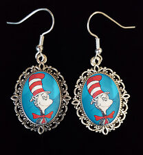 Dr Seuss Antique Silver Drop Earrings Goth Steampunk Cat in Hat Book