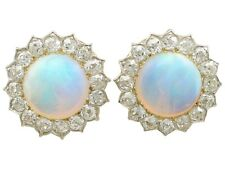 Victorian 7.76Ct Opal and 2.05Ct Diamond, 9k Yellow Gold Clip On Earrings 1880s