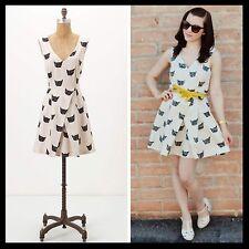 Anthropologie $149 Feline Karma Cat Kitty Print Dress Leah Reena Goren - Size 2