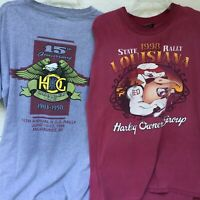 2 Mens Harley Davidson Tshirts XL HOG Rally 1998 Milwaukee WI Louisiana Stratman