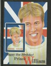 ZAMBIA 19 MAY 2003 PRINCE WILLIAM 21st BIRTHDAY MINIATURE SHEET MNH